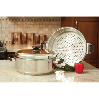 Precise Heat T304 Surgical Stainless Steel Oversized Skillet, Steamer and Cover