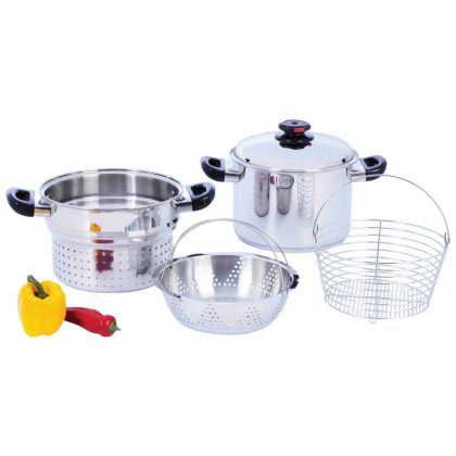 8QT Stockpot with Fry Basket & Steamer Inserts